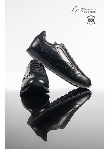 Letoon Maraton Unısex Derı Spor Ayakkabı Siyah